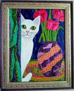 Зеленоглазая Кисуня картина маслом на гр. фанере / Green-eyed cat oil painting on plywood